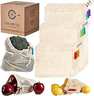 Colony Co. Reusable Produce Bags, Natural Cotton Mesh is Biodegradable, Recyclable Packaging, Machine Washable, Durable, Double-Stitched Seams, Tare Weight on Label, Set of 9, Small-Medium-Large