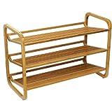 Oceanstat 3-tier Bamboo Shoe Rack with Slatted shelves