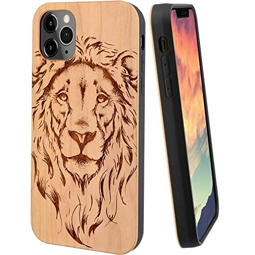 iProductsUS Wood Phone Case Compatible with iPhone 11, Cool Lion Engraved in USA, Metal Plate Built-in, TPU Bumper Protective Cover (6.1 inch)