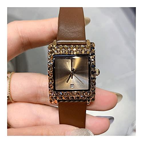 Relojes De Pulsera para Mujeres Retro Super Flash Rhinestone Reloj para Mujer Movimiento De Cuarzo Cristal Templado Mineral Espejo Pin Hebilla Cinturón Estuche con Reloj De Mujer (Color : Brown)