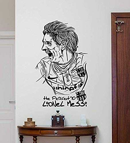 Leo Messi Wall Decal Argentina Football Soccer Player Vinyl Sticker Barcelona Decal Sport Wall Art Design Housewares Living Room Bedroom Decor Removable Wall Mural 151QQ