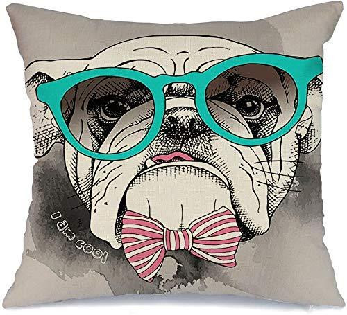 Funda de Cojine Throw CojínBulldog Lindo Perro Dibujo Moda Hipster Cabeza Mascota Mano Impresión Gafas Corbata Retro Animales Vida silvestre en Fundas para almohada 45X45CM