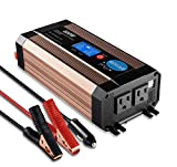 GISIAN 600Watt Pure Sine Wave Power Inverter 12V DC to 110V AC with LCD Display, Dual USB Ports and 2 AC Outlets, Perfect for CPAP RV Car Solar System Emergency
