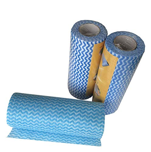 LINAZI Cleaning Cloths Disposable Cleaning Towels for Kitchen、Dish Eco-Friendly Non Woven Fabric 50 pcs/roll(3 Rolls)