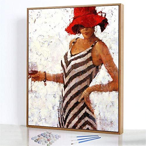 Diy Digitale Olieverfschilderij,Vrouw met wijnglas Schilderen Door Cijfers,Linnen Canvas ,Foto Voor Binnendecoratie - 40x50cm(Frameloos)