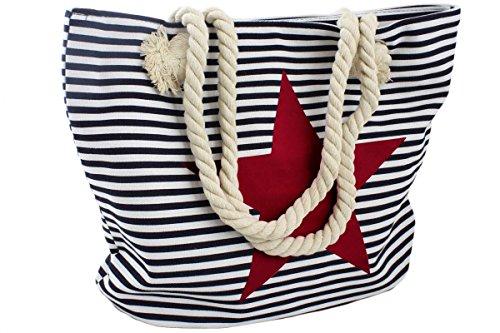 Sonia Originelli Strandtasche Stern Lena Beachbag Tasche Bag Streifen Maritim Farbe Marine-Pink