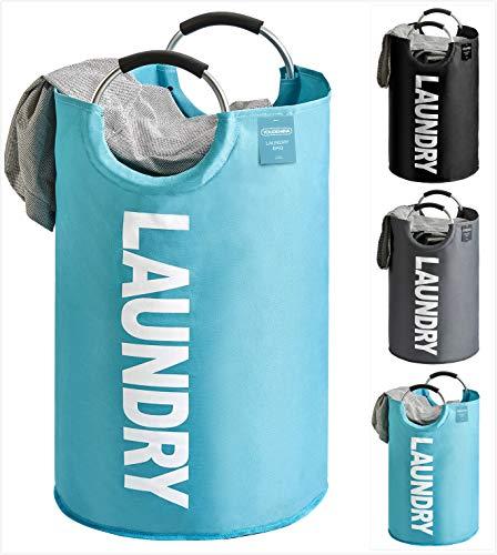 YOUDENOVA Wäschekorb Faltbar Wäschesammler Wäschesack Laundry Baskets 82L Kapazität mit Griff Blau