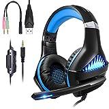 ShinePick Cascos Gaming PS4,Auriculares PS4 con Micrófono Luz LED...