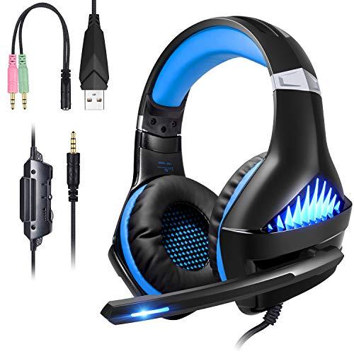 ShinePick Casque Gamer pour PS4 Xbox One, Casque Gaming Ecouteur Hi-FI de 3.5mm Jack LED Lumière Son Surround Stéréo Fortes Basses avec Micro Parfait pour Jeux Vidéo PC (Blue)