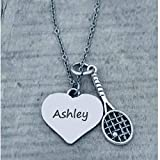 Personalized Engraved Tennis Racket Necklace,...