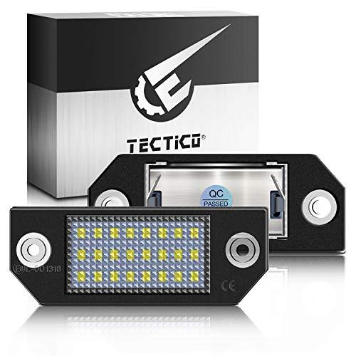 TECTICO LED Kennzeichenbeleuchtung 6000K Xenon Weiß mit E Prüfzeichen 3528-SMD Canbus Fehlerfrei Ultra Heller Nummernschildleuchten für Focus C-MAX MK2, 2 Stück