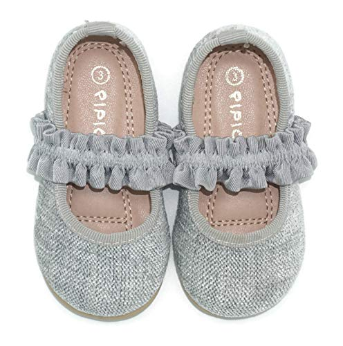 Pipiolo Mary Jane Ballerina Flats with Elastic Straps – Shoes for Girls (Silver, 3 Infant)