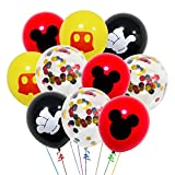 40 Pack Mouse Balloons, 12 Inch Latex Balloons Red Black Yellow Color Confetti Balloons Decorations Kit for Birthday Party Baby Shower Mouse Theme Party Supplies
