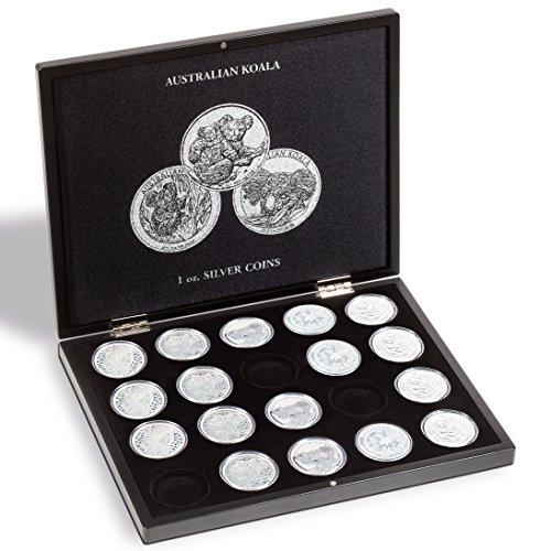 Leuchtturm 347920 VOLTERRA Münzkassette für 20 Australian Koala Silbermünzen in Original Münz-Kapseln | 1 OZ. | schwarz |