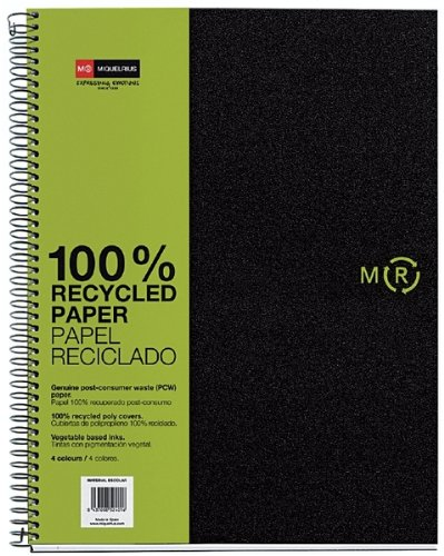 Miquelrius 6 x 8 A5 Recycled Wirebound Notebook, 4-Subject Graph Paper, Black