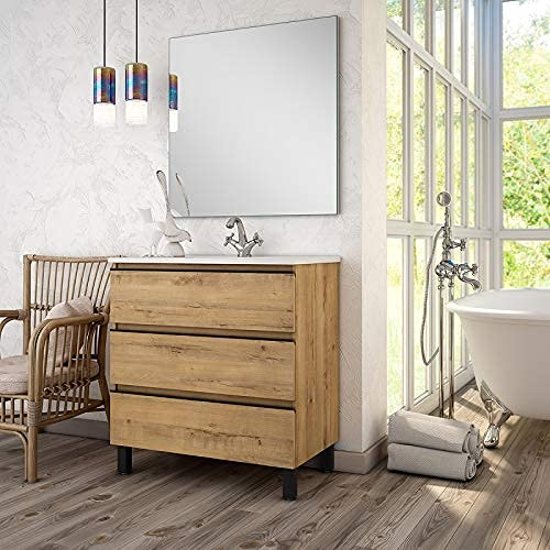 Aquareforma   Mueble de Baño con Lavabo y Espejo   Mueble Baño Modelo Sundee 3 Cajones con Patas   Muebles de Baño   Diferentes Acabados Color   Varias Medidas (Bamboo, 100 cm)
