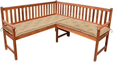 vidaXL Solid Acacia Wood Garden Corner Bench with Cushions Wooden Outdoor Patio Terrace Seating Lounge Seat Sitting Furniture