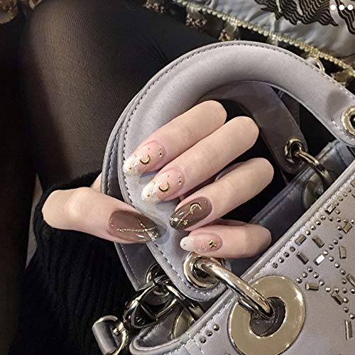 Kakaco Glossy Oval discount Press on Dealing full price reduction Nails Black Clear Moon St Fake