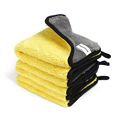 WORKPRO Panno in Microfibra 1200GSM, Panno Asciugature Auto, Panno per Lucidatura per la Cura del Moto e la Casa, 30x30CM, 3 Pezzi