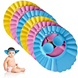 Lamoutor 6Pcs Baby Shower Cap Baby Shampoo Cap Bath Visor Hat Adjustable Baby Hair Washing Shield Hat for Toddler and Children (Pink, Blue and Yellow)
