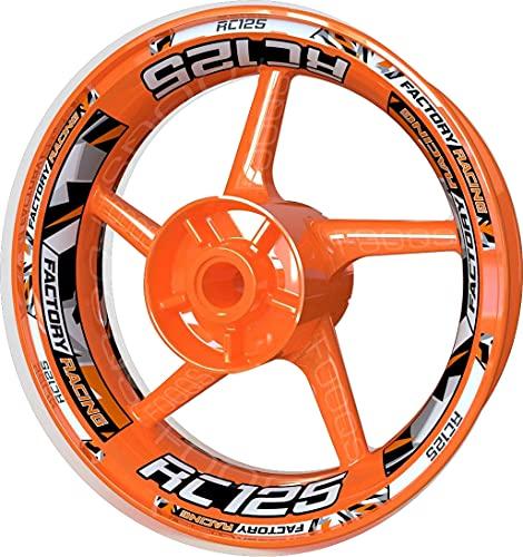 Adhesivo para llanta de moto F2 para KTM RC 125 RC-125 (plata/naranja)