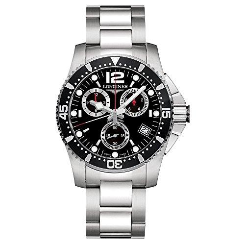 Longines L36434566 - Orologio da polso da uomo con cinturino in acciaio inox e quadrante al quarzo svizzero, colore: nero
