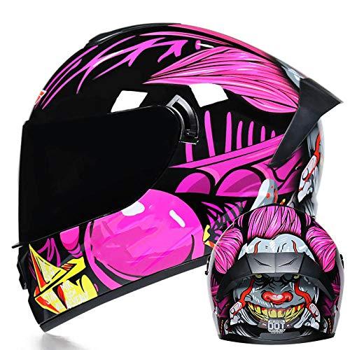 BUETR Helm Herrenmotorrad voller Helm voller elektrischer Helm voller Helm voller Doppellinse superleichter Helm-Clown Pink (schwarz verstärkte Gläser) _M (57-58)