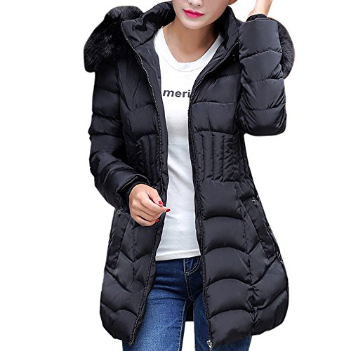 KUDICO Winter Mantel Damen Fashion warme Lange Jacke Baumwolle Slim Parka Trench Outwear Sweatshirt über Tops, Angebote!(Schwarz, EU-38/CN-XL)