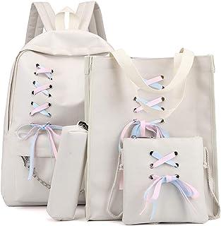 حقيبة ظهر من القماش 4 قطع من إكستيوم حقيبة ظهر بشريط للمدرسة للفتيات المراهقات
