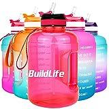 BuildLife Bottiglia d'acqua da 2,2 l, con apertura ampia e cannuccia e indicazione del tempo per bere quotidianamente, senza BPA, riutilizzabile, per palestra, sport all'aperto (rosa, 2,2 l)