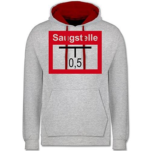 Shirtracer Feuerwehr - Saugstelle - XS - Grau meliert/Rot - Firefight Streetwear - JH003 - Hoodie zweifarbig und Kapuzenpullover für Herren und Damen