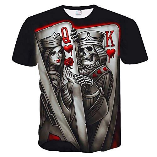 Camiseta 3D Miahen DXSY255, Tops de Manga Corta de Cuello Redondo para Hombres y Mujeres, Unisex 3D, 3D, Camisetas Casuales con diseño de calavera-2xl