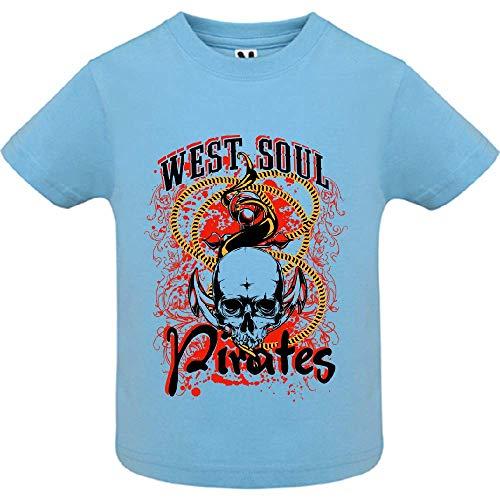 LookMyKase T-Shirt - West Soul Pirates - Bébé Garçon - Bleu - 2ans