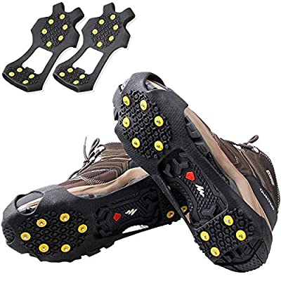 OROOTL Ice and Snow Grips, Anti-Slip Ice Cleats for Shoe Boot, Durable 10 Steel Studs Stretchable Traction Cleats Over Shoe for Men Women