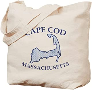 CafePress Preppy Vintage Blue Cape Cod Natural Canvas Tote Bag, Reusable Shopping Bag