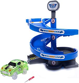 VINSOO Blue Auto Turn Tower with a Green Toy Car for Tracks Car Accessories