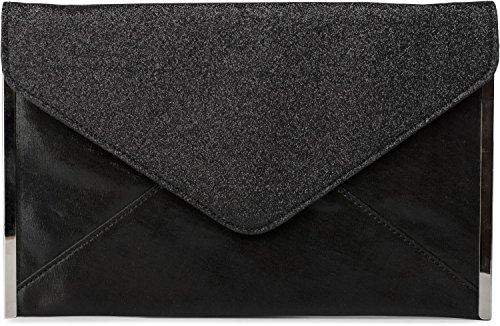 styleBREAKER glitzernde Envelope Clutch, Abendtasche im Kuvert Design mit Gliederkette, Flache Ausführung, Tasche, Damen 02012148, Farbe:Schwarz