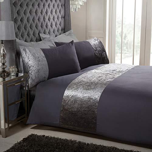 Sleepdown - Set di biancheria da letto per letto matrimoniale super king size (260 x 230 cm) con polsini in velluto grigio antracite
