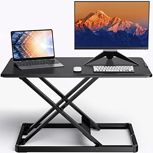 ErGear Standing Desk Converter Height Adjustable Stand Up Desktop Riser, 28' Ergonomic Gas Spring Sit to Stand Workstation for Laptop and Monitor Home Office (EGSSD4)