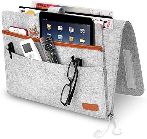 QYY Betttasche, Filz Betttasche Anti-Rutsch Nachttisch Tasche Sofa-Bett Hängeaufbewahrung für Buch, Zeitschriften, iPad, Handy, Fernbedienung -Hellgrau