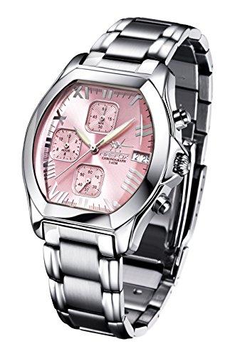 FIREFOX NEBUKADNEZAR FFS175-190 Sunray rosa Damenuhr Armbanduhr Chronograph massiv Edelstahl Sicherheitsfaltschließe wasserdicht Laufwerk Miyota OS10