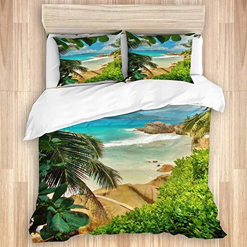 Juego de funda nórdica de 3 piezas, vista del océano turquesa con vegetación verde de playa tropical y rocas cerca de la costa, vacaciones de verano, colcha con cremallera para dormitorio con 2 fundas