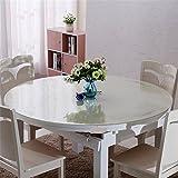 hjuns–Protector para mesa de comedor (transparente, resistente a los arañazos, resistente al agua y a la grasa, para mesa redonda, pvc, Transparente, Dia.80cm