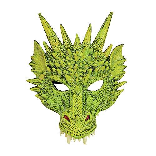 Bristol Novelty BM553 Drachen Maske, Grün, Unisex– Erwachsene, Einheitsgröße