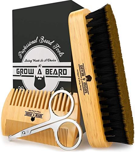Beard Brush & Beard Comb Set w/ Beard Scissors Grooming Kit, Beard Brush For Men, Natural Boar Bristle Beard Brush, Men