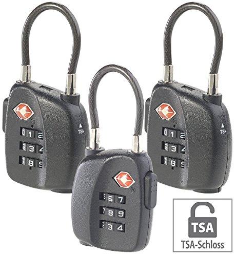 AGT Reiseschloss: 3er-Set TSA-Koffer- & Gepäck-Schlösser mit Zahlencode und Stahlkabel (Kofferschloss TSA)