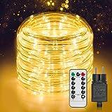 Manguera de luz LED exterior de 20 m, 336 ledes con mando a distancia, 8 modos y temporizador, IP65 resistente al agua