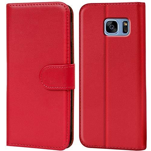 Verco Galaxy S7 Hülle, Handyhülle für Samsung Galaxy S7 Tasche PU Leder Flip Hülle Brieftasche - Rot