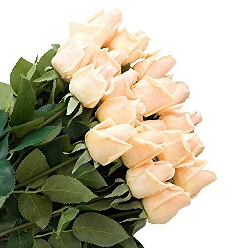 Jia Hu, pack de 12unidades, flores artificiales de seda flores arreglos casa plantas de mesa oficina decoración del hogar, blanco