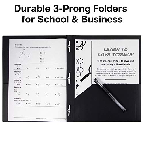 Dunwell Black Folders with Prongs and Pockets- (12 Pack of Folders) Plastic Folders with Fasteners, Letter Size 2-Pocket Folders for Office, Professional Folders with Pockets, Include Removable Labels Photo #8